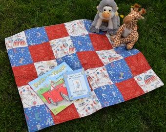 Handmade Circus Themed Baby Blanket/Play-Mat, Nursery Decor, Baby Play-Mat, Circus Play-Mat, Baby Blanket, Circus Blanket, Baby Shower Gift