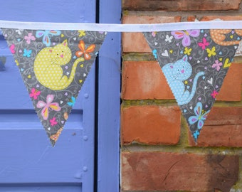 Cat Bunting, Colourful Cats Bunting, Kitten Bunting, Handmade Bunting, Grey Cat Bunting, Grey Bunting, Butterfly Bunting