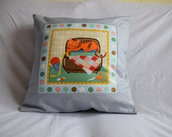 Crafty Cat Cushion Cover, Cat Cushion, Sewing Cushion, Cat & Sewing Cushion, Cat Cushion Cover, Patchwork Cushion, Ginger Cat Cushion