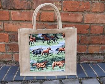 Horse Jute Bag, Equestrian Bag, Horses Jute Bag, Pony Bag, Shopping Bag, Horse Bag, Horse & Pony Bag, Lunch Bag, Handmade Horse Bag