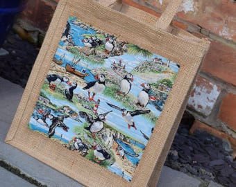 Puffins Jute Bag, Puffin Bag, Puffin Lunch Bag, Puffin Birds Bag, Seabirds Bag, Hessian Bag, Jute Bag, Puffins by the Sea Bag, Handmade Bag