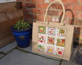 Owl, Hedgehog & Fox Jute Bag, Owl Bag, Hedgehog Bag, Fox Bag, Handmade Forest Animals Bag, Forest Animals Bag, Shopping Bag, Animal Bag