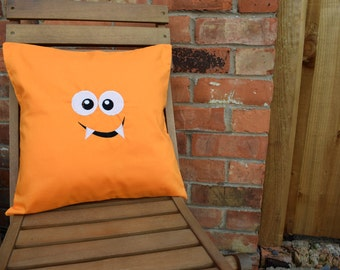 Orange Monster Embroidery Cushion Cover, Nursery Decor, Baby Gift, Handmade Cushion, Monster Cushion, Embroidery Cushion