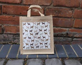 Hounds Jute Bag, Dogs Jute Bag, Dog Bag, Hounds Bag, Brown Hounds Bag, Doggy Bag, Lunch Bag, Shopping Bag, Dog Gift Bag