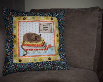 Brown Cat Cushion Cover, Cat Cushion, Home Sweet Home Cushion, Floral Cushion, Cats & Flowers Cushion, Patchwork Cat Cushion, Cat Home Decor