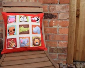 Zoo Animals Cushion Cover, Zoo Animals, Nursery Decor, Baby Gift, Handmade Cushion, Zoo Cushion, Zoo Pillow, Nursery Gift