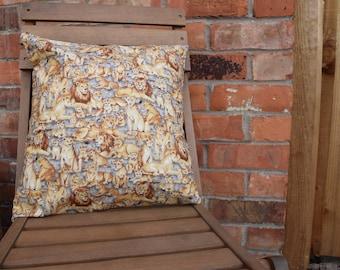 Lion Cushion Cover, Jungle Animal, Safari Animal, Lion Pride, Handmade Cushion, Decorative Pillow, Lion Pride Cushion Cover