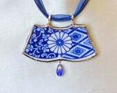 Broken China Double Section Pendant from Blue Imari Salad Plate by Lipper and Mann