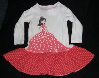 Little Princess Tee Shirt Dress - 9 mth - tshirt dress, tee shirt dress, princess tshirt dress, baby ruffled dress, infant ruffled dress