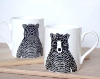 ab7a27e4a58c Bear mug, fine bone china with a black and white hand-drawn illustration,