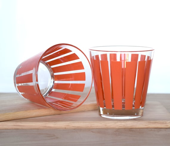 02098b0b6c1 Retro drinking glasses Made in Italy by Cerve retro orange
