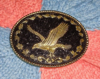Oval noir   or ton cru vol aigle symbole de la fierté, la puissance et  boucle de ceinture de la liberté 5f3d8908774