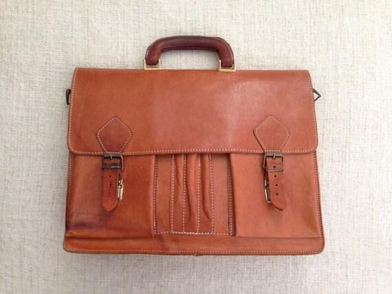 70s Vintage Orange Brown Travelling Large Calfskin