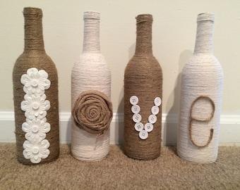 Ficelle d'amour enveloppé décor bouteille de vin!
