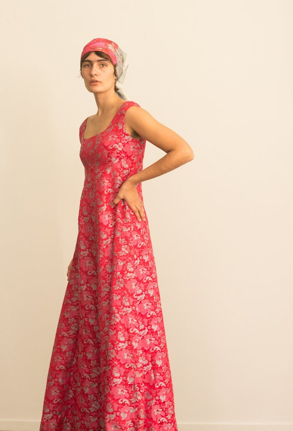 1960s Empire Waist Red and Pink Brocade Gown