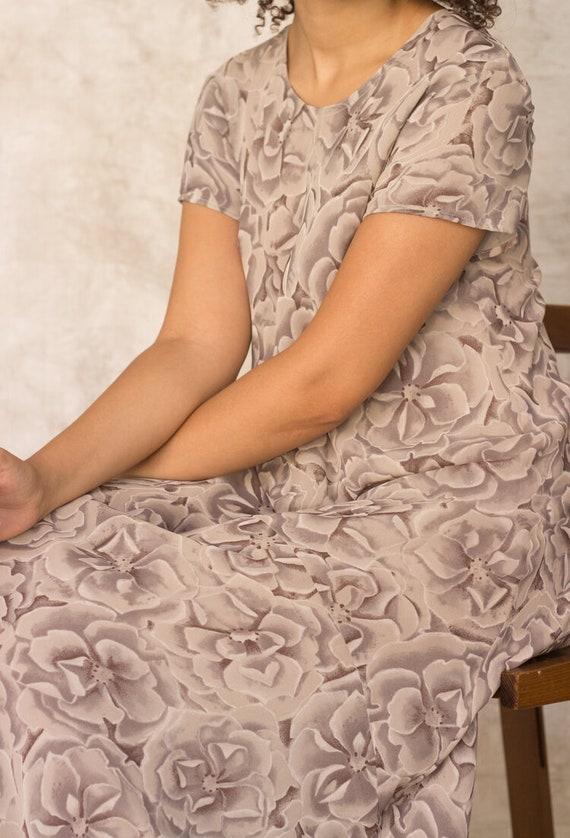 1990s Warm Gray Silk Floral Bias Cut Maxi Dress - image 1