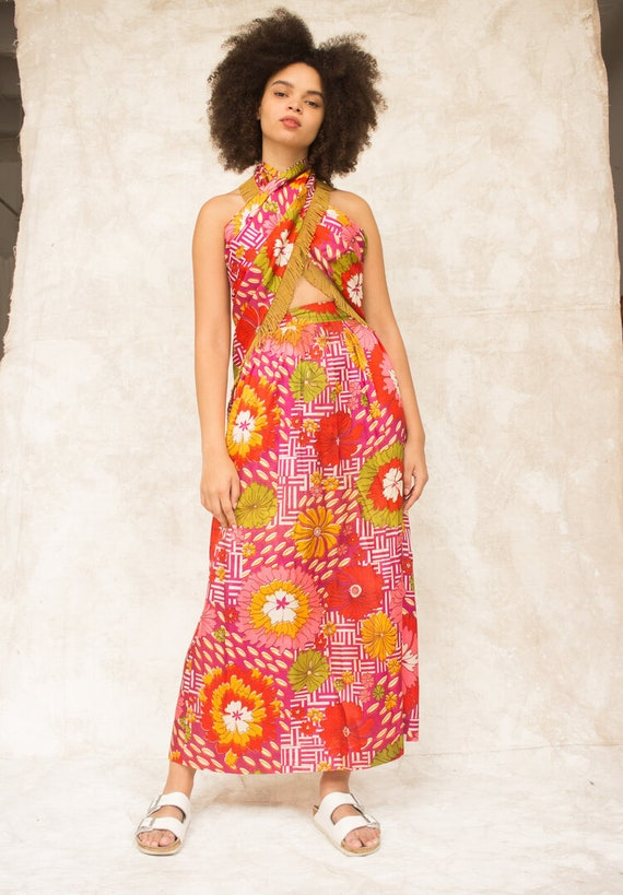 1960s Candy Colored Two Piece Vacation Set