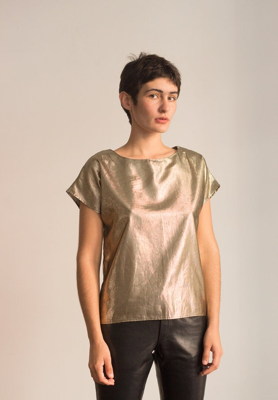 1980s Gold Lamé Cap Sleeve Top