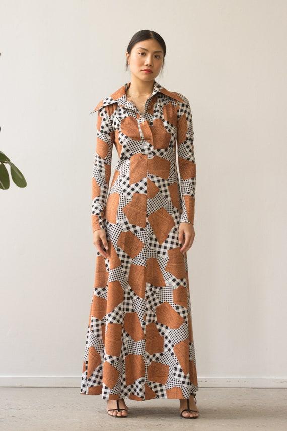 1970s Patchwork Print Maxi Dress
