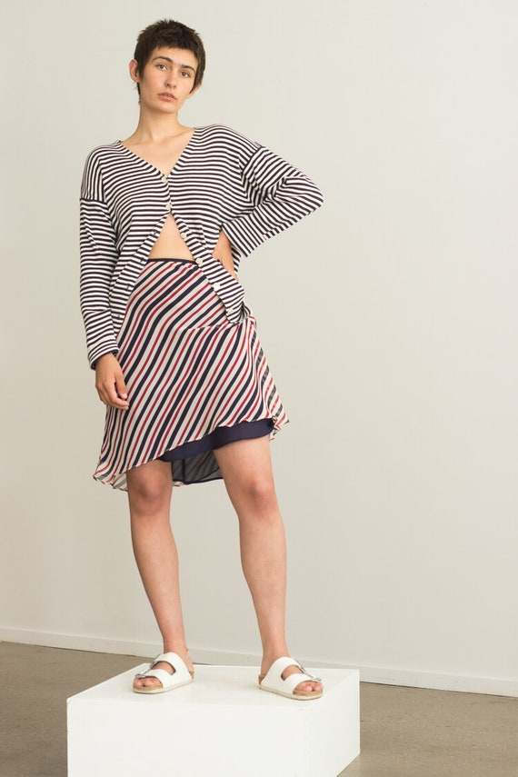 1990s Striped Silk Bias Cut Slip Skirt