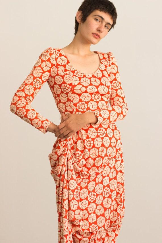 1970s Orange and Cream Printed Jersey Maxi Dress