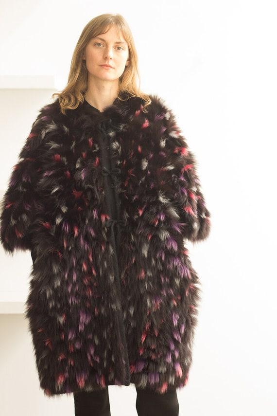 1990s Finnish Rabbit Fur and Knit Sweater Jacket