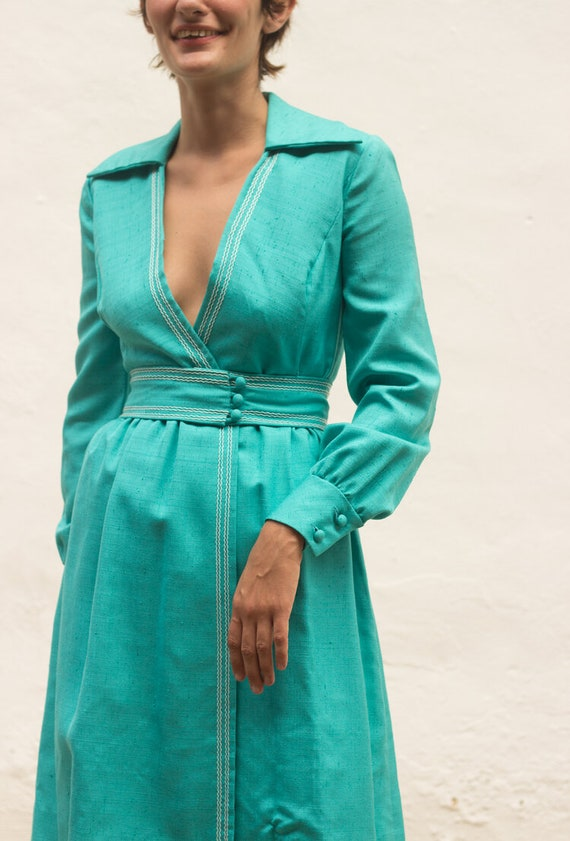 1960s Turquoise Silk Wrap Dress