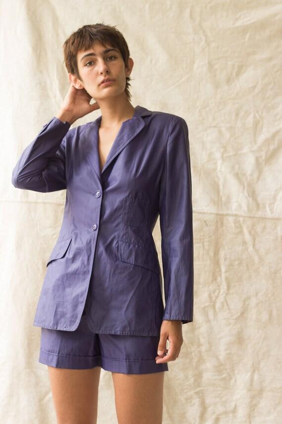 1980s Mondi Indigo Coated Linen Shorts Suit