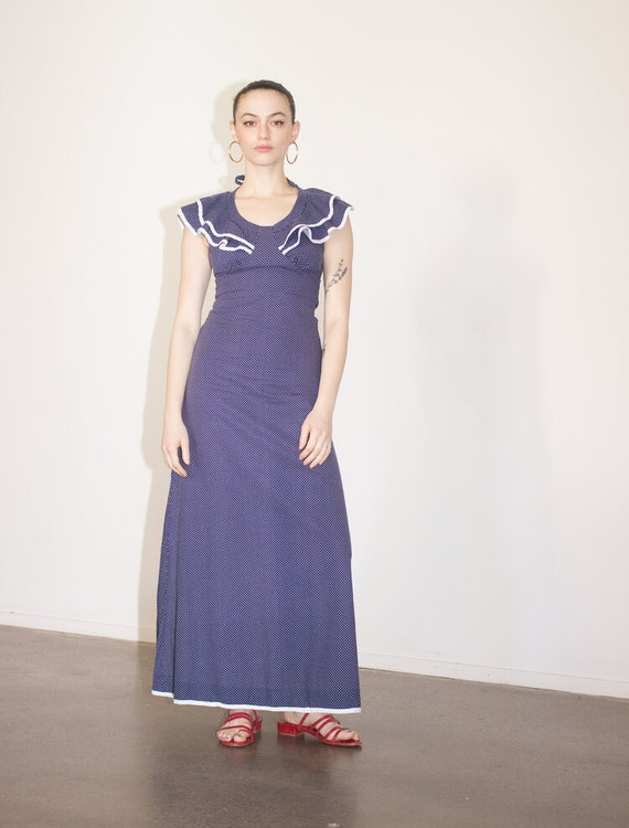 1970s Navy Polka Dot Cotton Maxi Dress