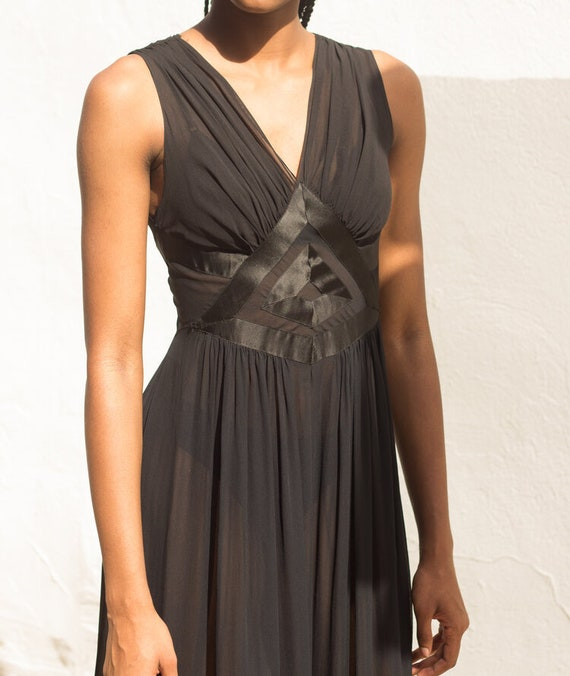 1930s Art Deco Silk Chiffon Slip Dress - image 3