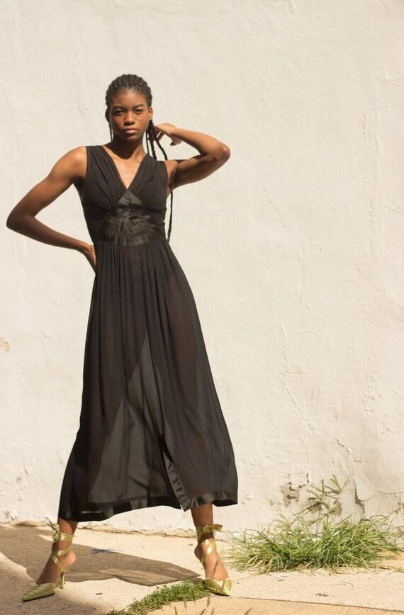 1930s Art Deco Silk Chiffon Slip Dress - image 7