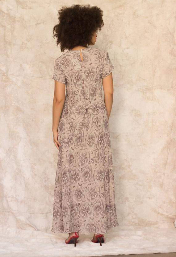 1990s Warm Gray Silk Floral Bias Cut Maxi Dress - image 2