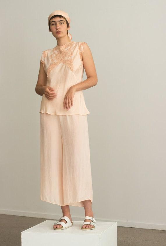 1940s Blush Silk Pajamas