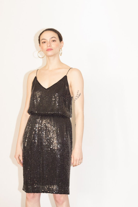 1970s Sequined Silk Spaghetti Strap Two Piece