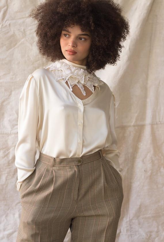 1980s Silk Charmeuse Lace Collar Blouse