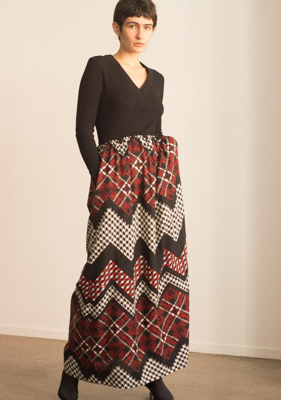 1970s Saks Fifth Avenue Houndstooth and Knit Maxi