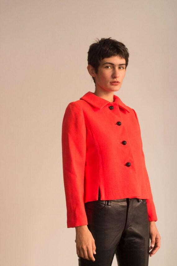 1960s Neon Orange Wool Cropped Jacket