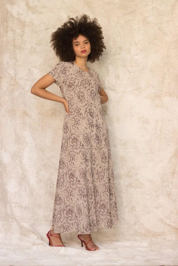 1990s Warm Gray Silk Floral Bias Cut Maxi Dress - image 5