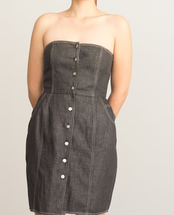 1990s Black Denim Bustier Dress