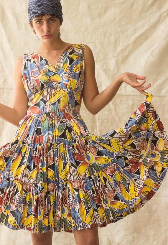 1940s Hawaiian Cotton Sun Dress