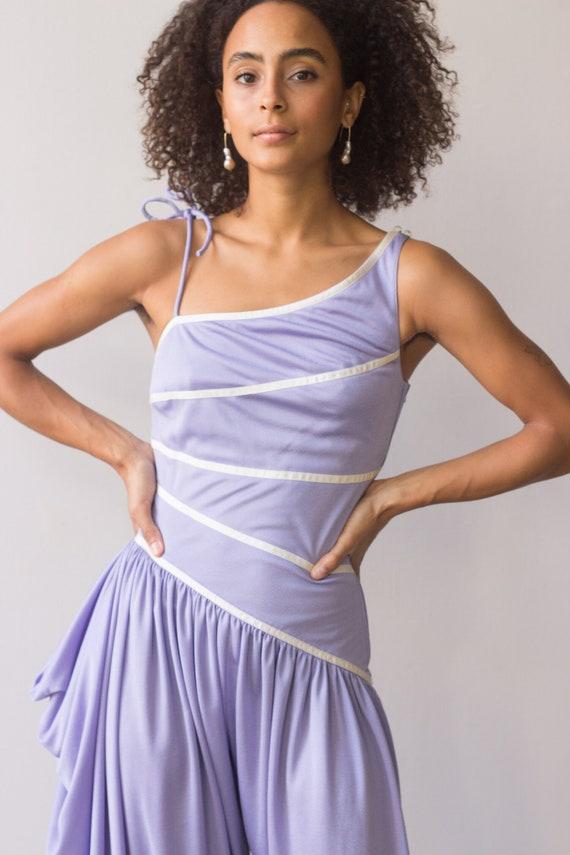 1970s Lilac Jersey One Shoulder Jumpsuit