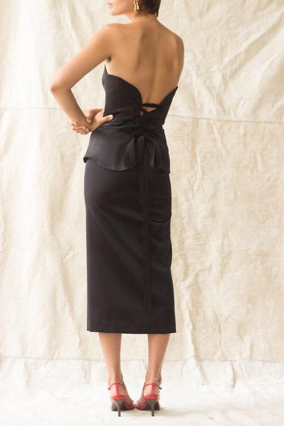 1980s YSL Satin Bustier and Ankle Length Skirt En… - image 5