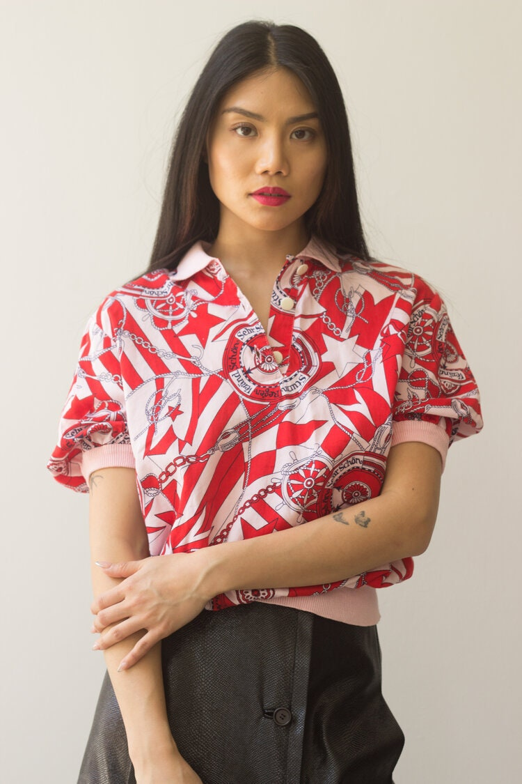 Vintage Scarf Styles -1920s to 1960s 1980S Italian Scarf Print Cotton  Knit Polo Shirt $0.00 AT vintagedancer.com