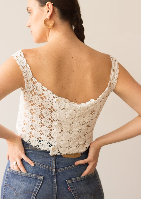 1910s Edwardian Crocheted Lace Corset Cover