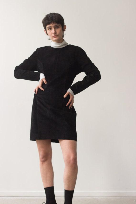 1980s Banana Republic Black Suede Dress