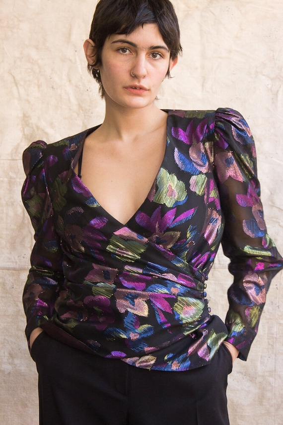 1980s Jacquard Lamé Puff Sleeve Wrap Top
