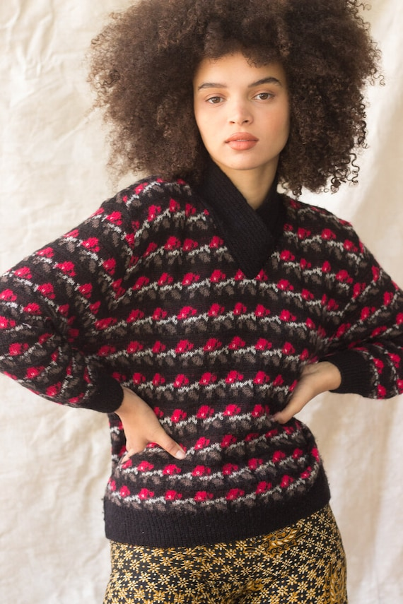 1990s Shawl Collar Fairisle Lambswool Sweater