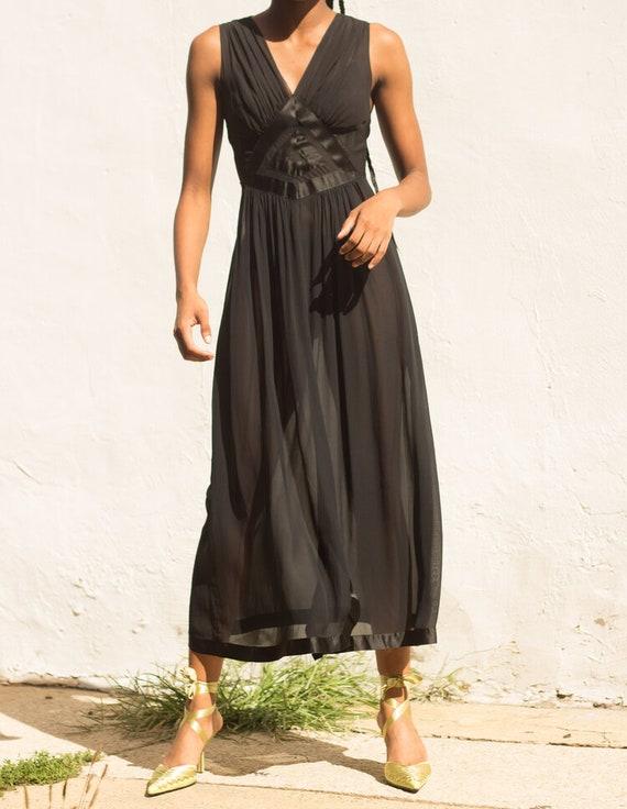1930s Art Deco Silk Chiffon Slip Dress - image 4