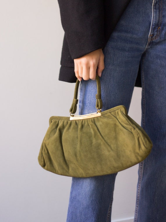 1960s Olive Suede Top Handle Bag with Gold Clasp