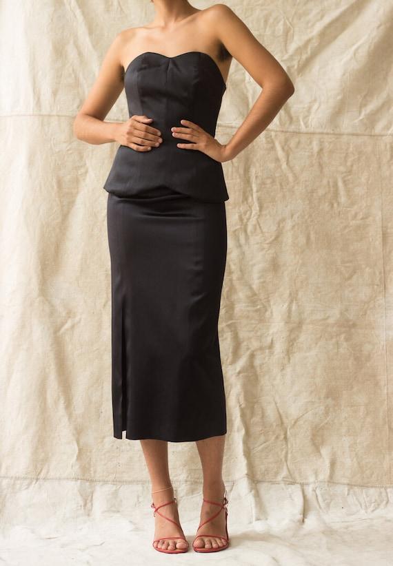 1980s YSL Satin Bustier and Ankle Length Skirt En… - image 7
